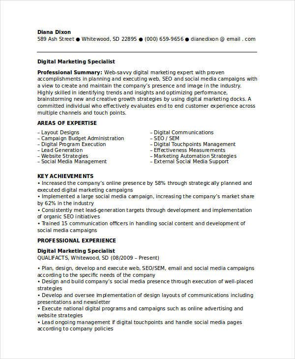 Digital Marketing Specialist Resume , Marketing Resume Samples for - marketing sample resume