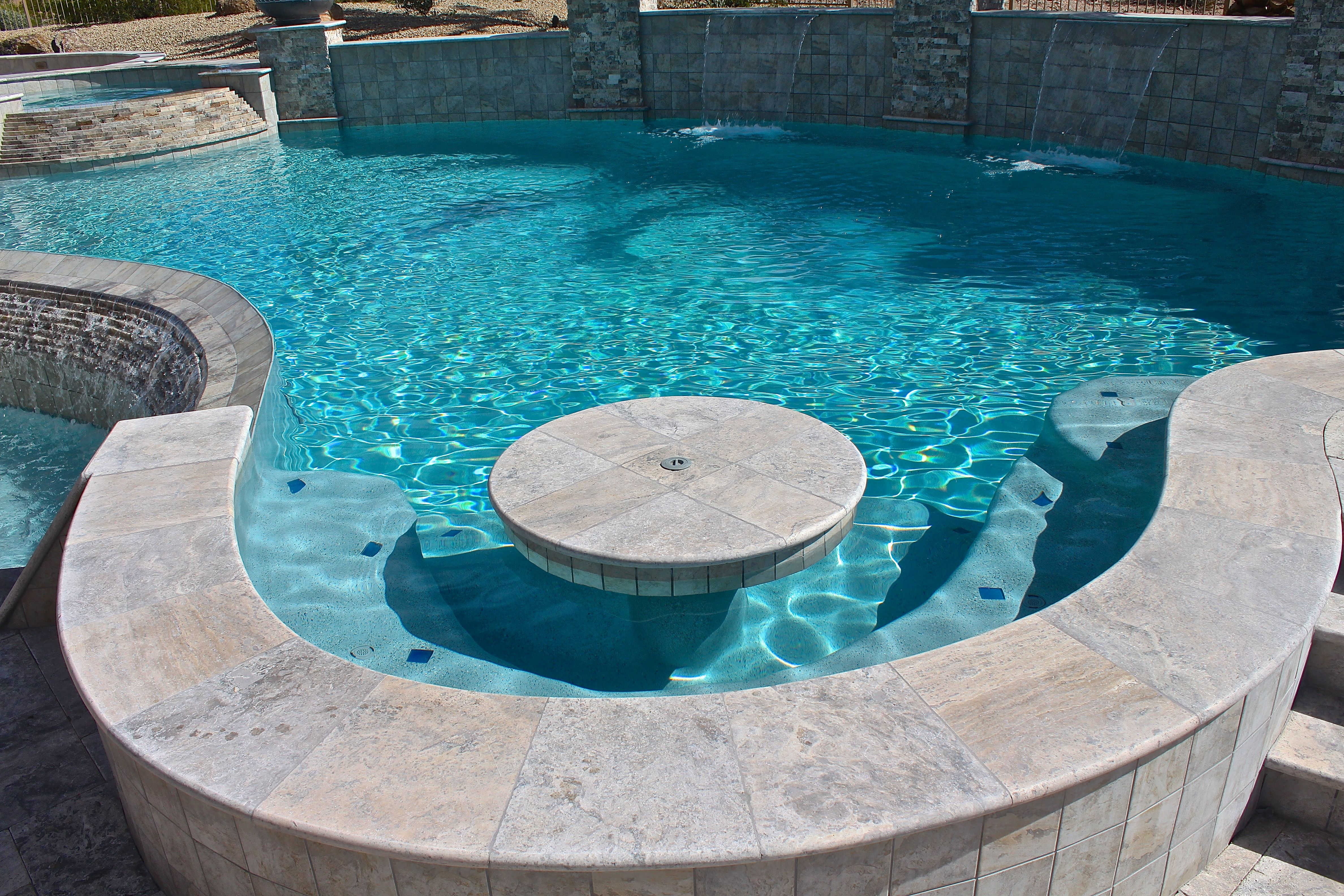 Pools Photo Gallery Custom Inground Pools Surprise Arizona Rainfall Freeform Pool With Bench And Table Inground Pool Designs Custom Inground Pools Pool