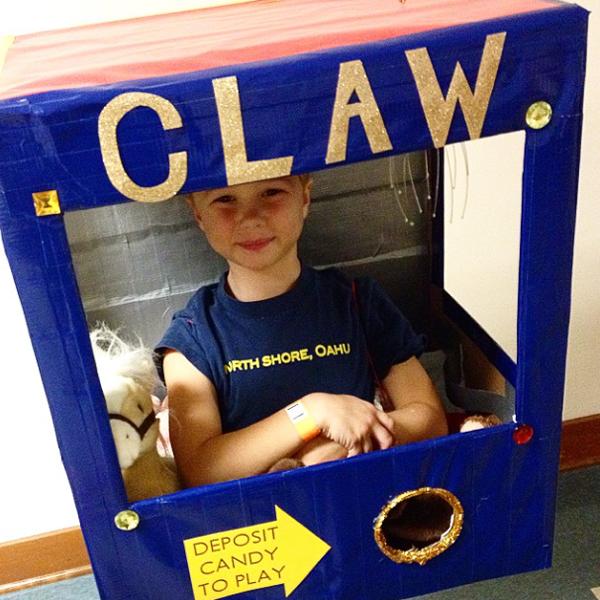 Kid Stuck In A Claw Machine Costume