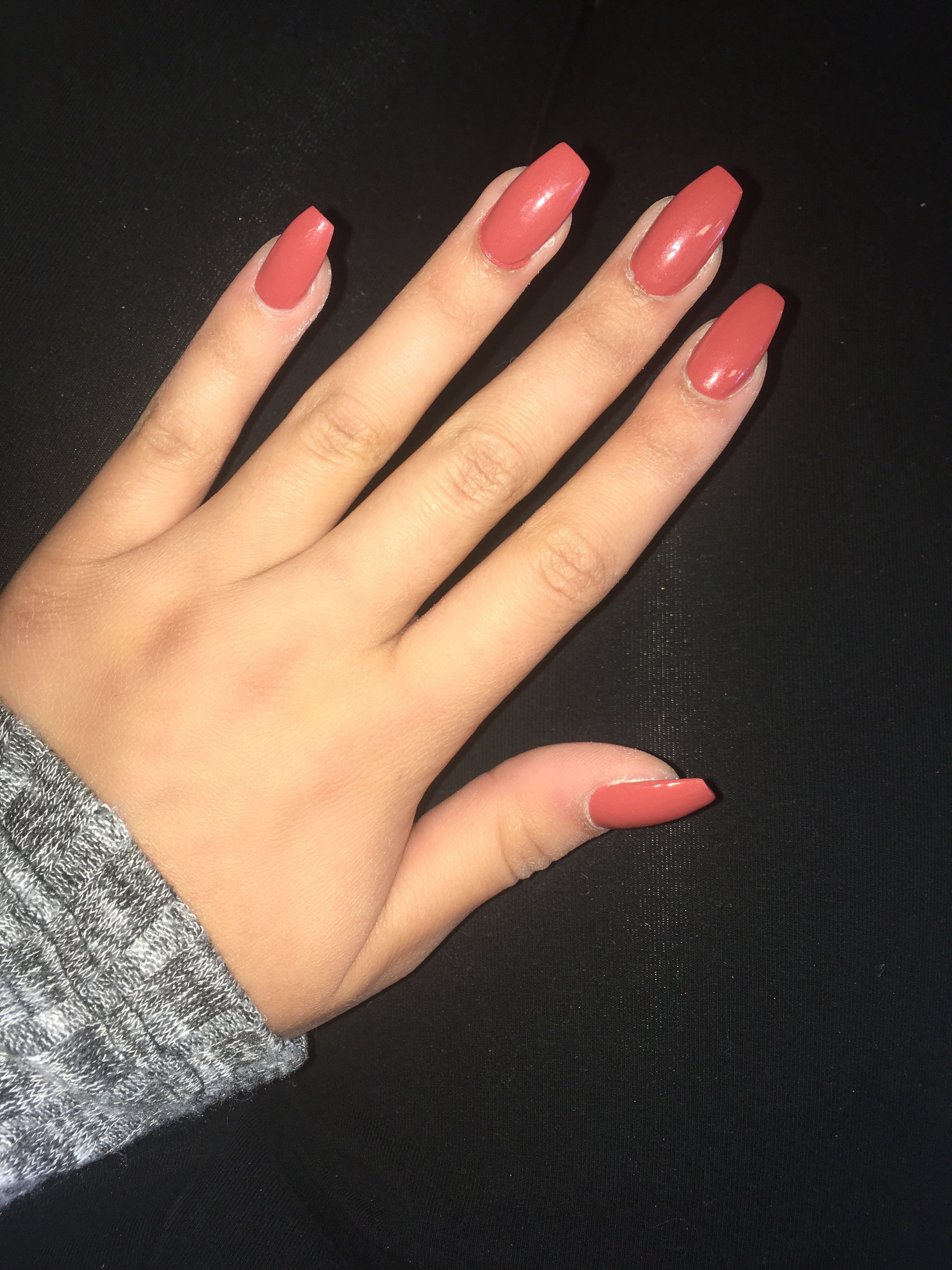 Orange coffin fall nails 2017 peach maroon coral pink trendy