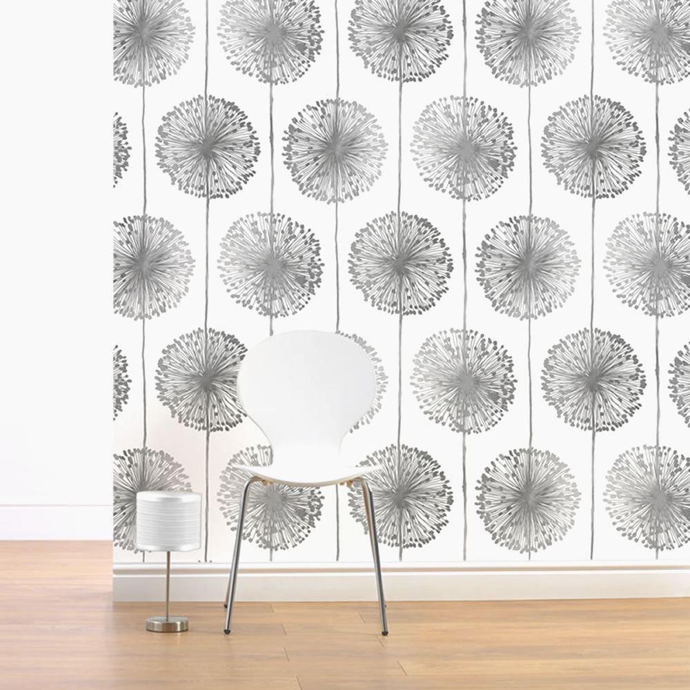 White / Silver / Grey   J04209   Dandelion   Floral   Muriva Wallpaper