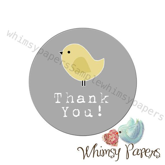 Yellow bird thank you labels grey 1 5 inch round stickers set of
