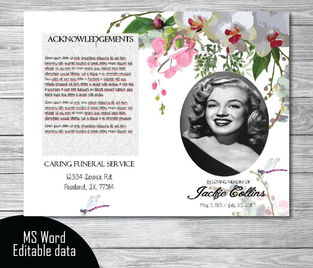 printable memorial program printable funeral program template memorial program remembrance editable word