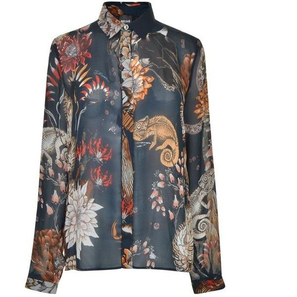 Just Cavalli Long Sleeve Floral Pattern Blouse (€300) ❤ liked on Polyvore featuring tops, blouses, blu navy varian, flower print blouse, floral tops, pattern blouses, floral print blouse and sheer long sleeve blouse