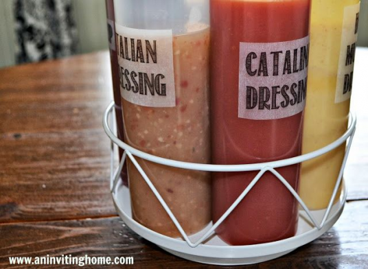 How To Avoid A Salad Dressing Mess- great condiment storage idea #condiments #condiments #storage