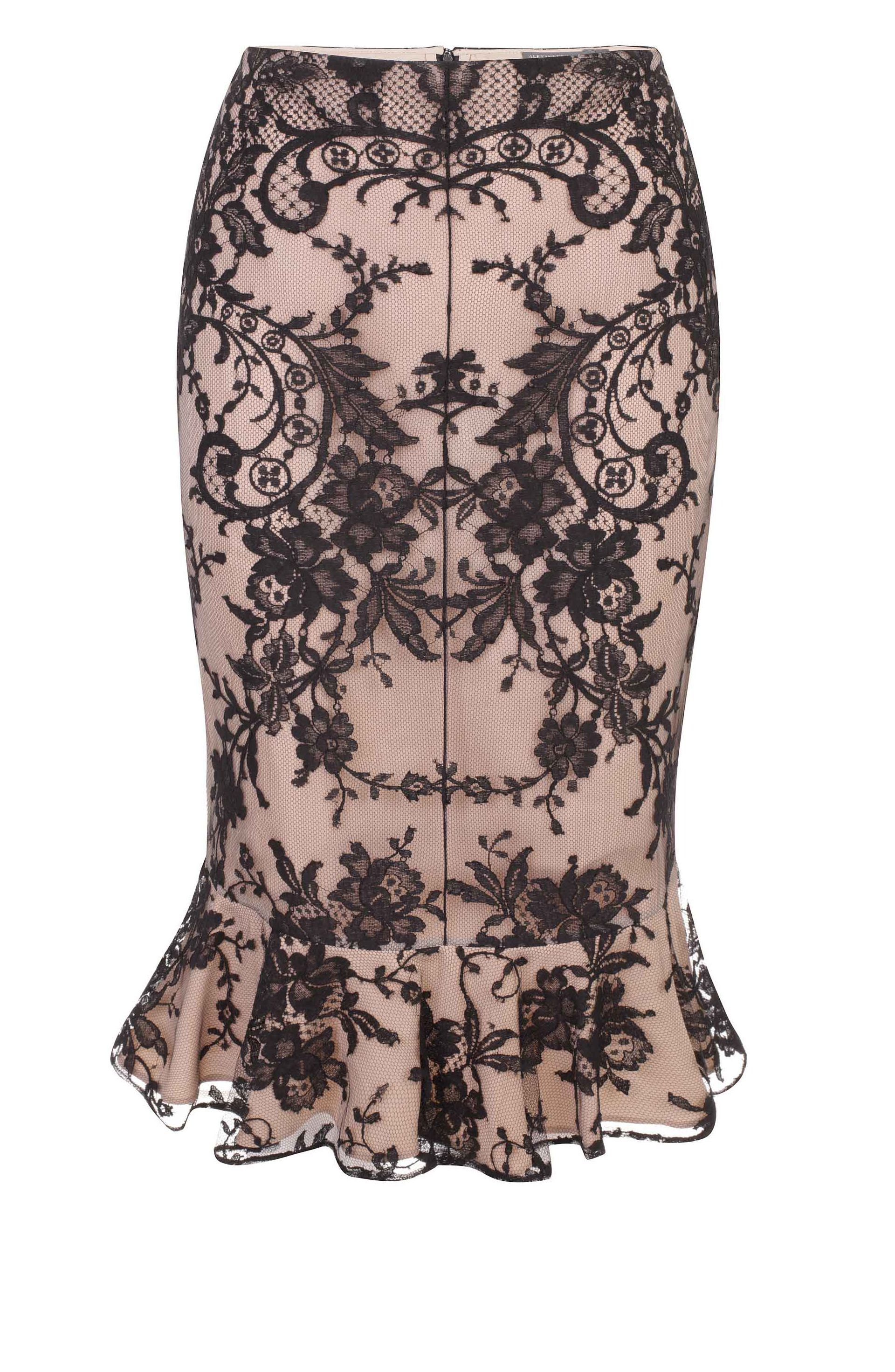 933e3a5823 Floral Lace Ruffle Detail Skirt black floral lace over flesh silk Alexander  McQueen