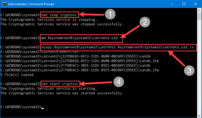 Reset Catroot2 folder in Windows and sort out most of the