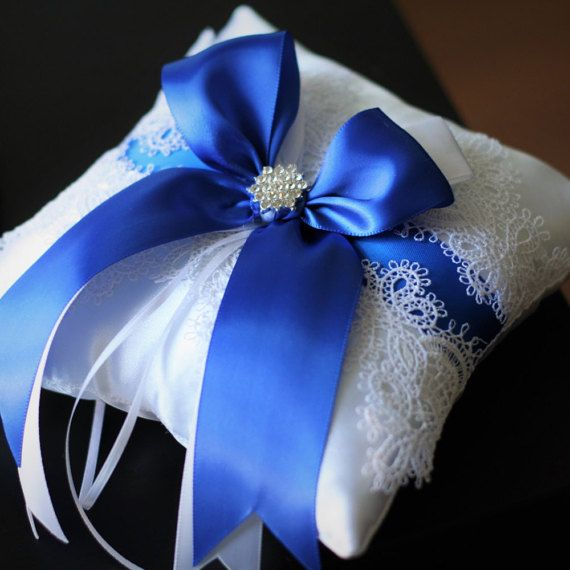 Blue Wedding Pillow White Lace Ring Bearer Pillow Royal Blue