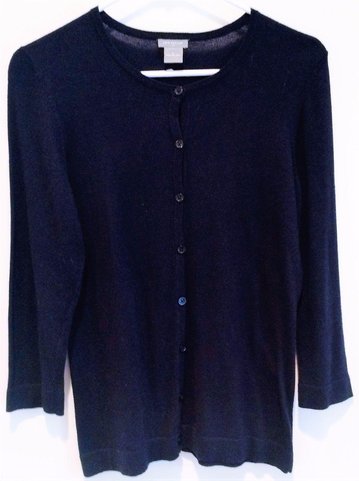 Ann Taylor Navy Blue 3/4 Sleeve Lightweight Cardigan Sweater Size ...