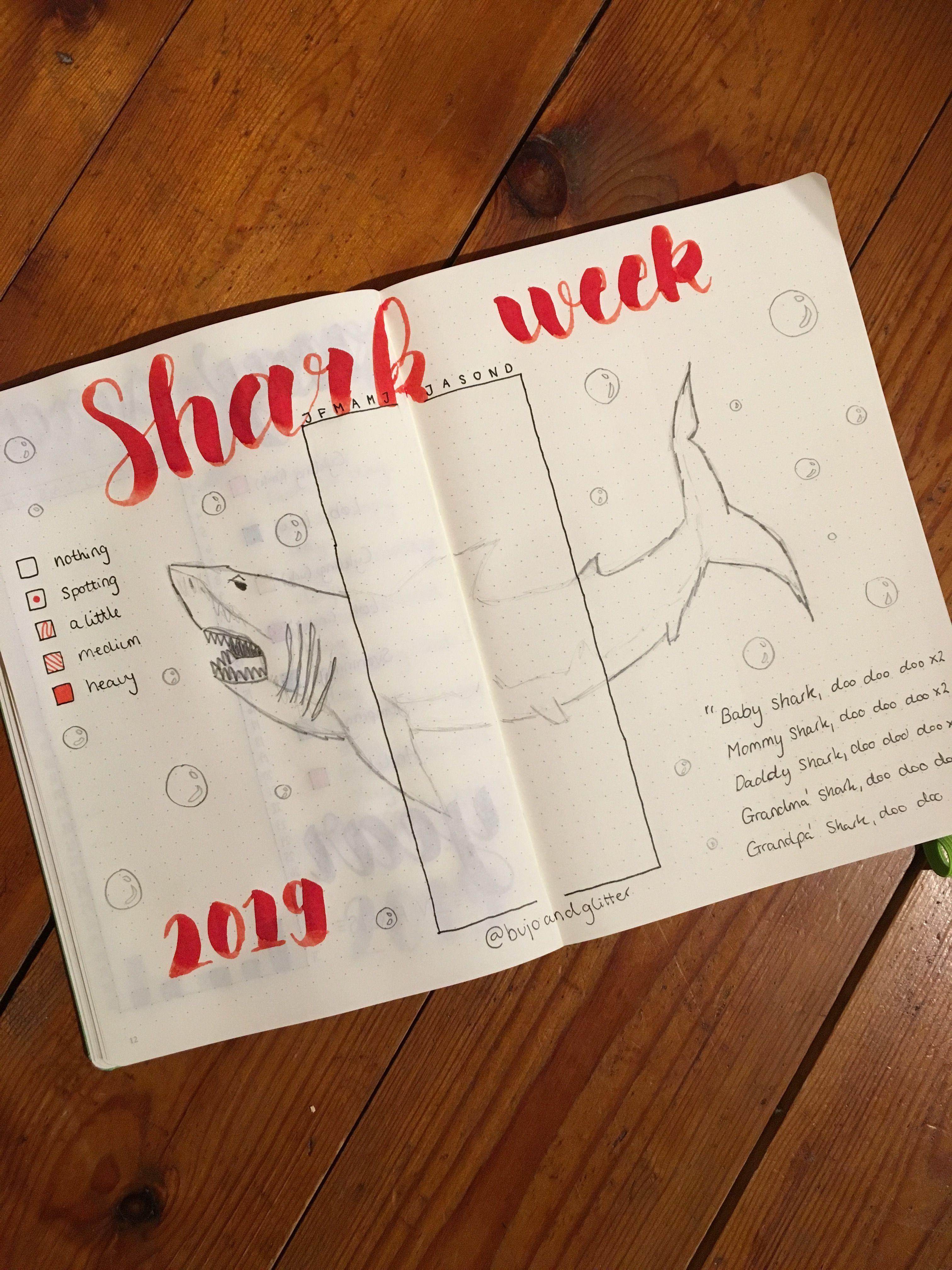 Shark week  Period tracker  | Bullet journal | Bullet journal period