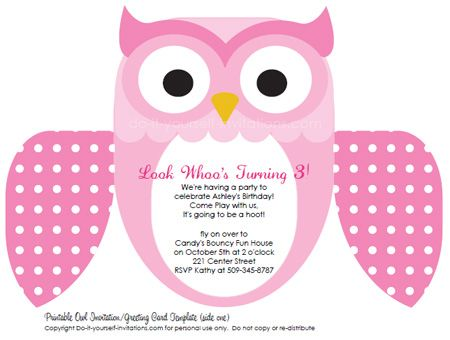 free party invitation templates unique owl invitations baby