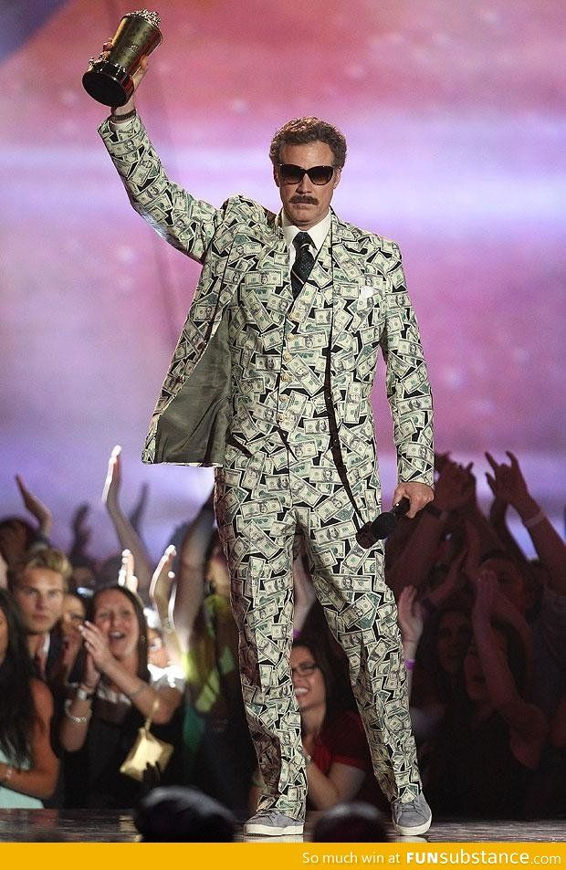 Will Ferrell Wearing A Money Suit Funsubstance Will Ferrell Fashion Forum How To Wear