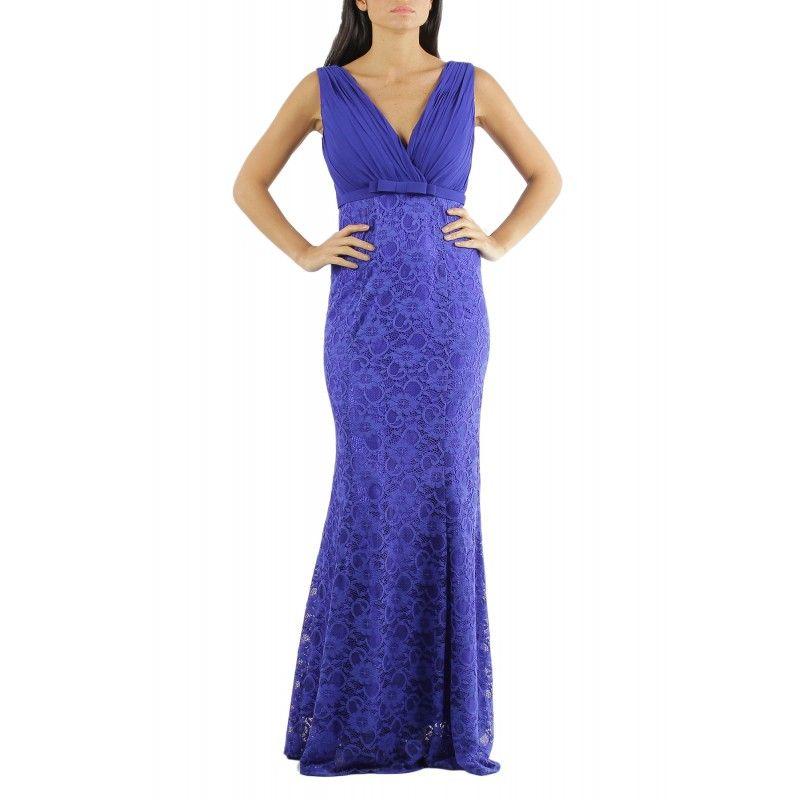 vestido largo de fiesta escote en V Cruzada con tela plisada y falda ...