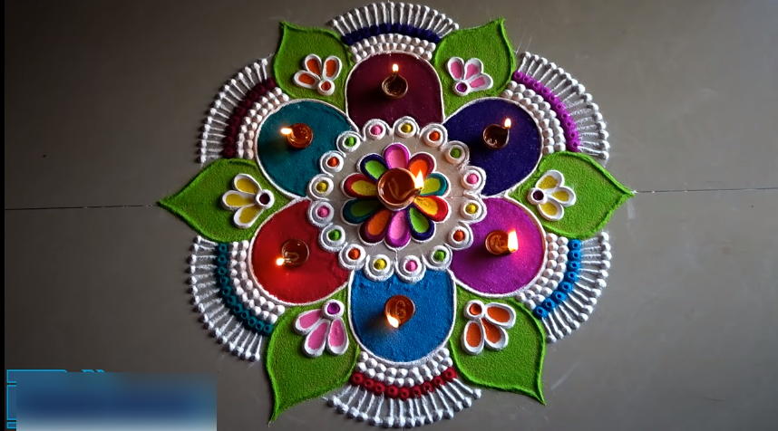 Very easy, beautiful and unique multicolored rangoli for