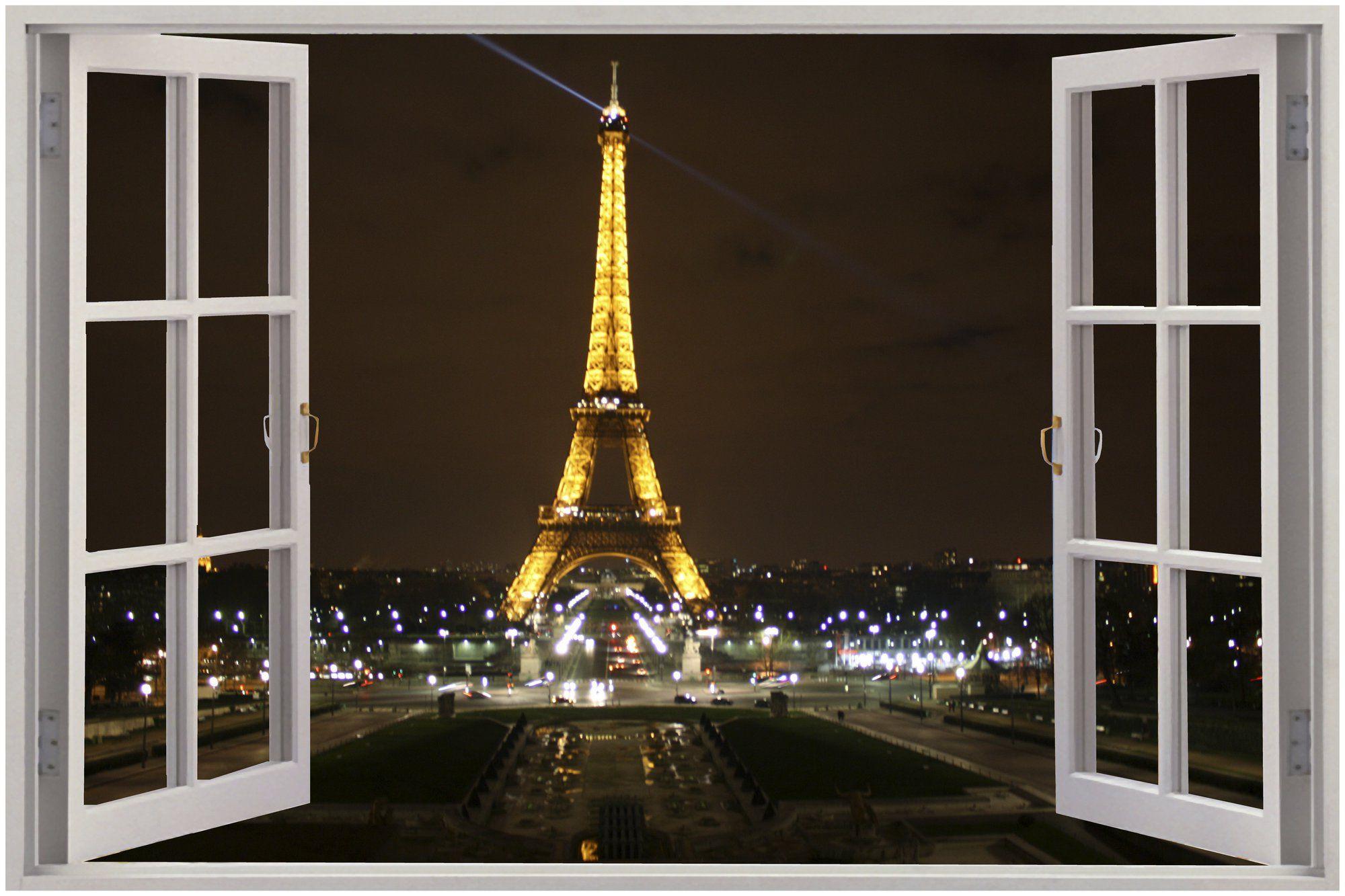 Parisian Window Decal Google Search Wall Stickers Paris Eiffel Tower At Night Mural Art