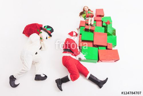 Black Friday 2016, Santa and Snowman delivering gift boxes