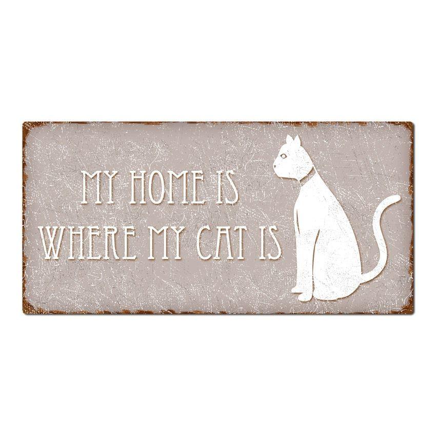 Taupe Couchtische Online Kaufen: Dekoschild My Home Is Where My Cat Is 300 X 150 Mm Taupe
