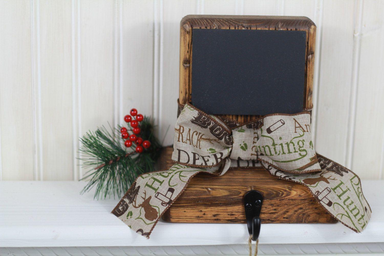 rustic christmas stocking holder w/deer hunting ribbon,holiday