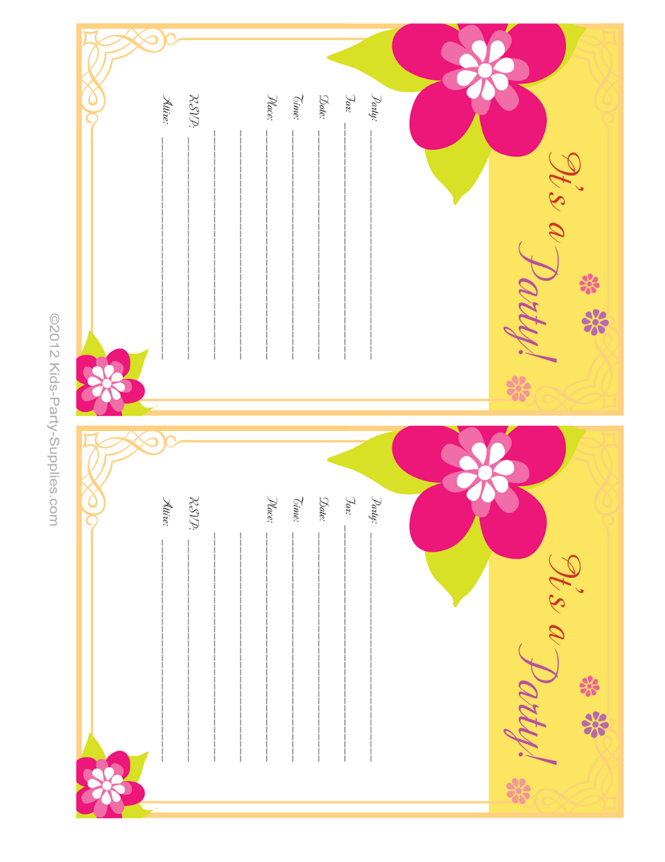 hawaiian party invitations free printable | pool party | pinterest, Invitation templates