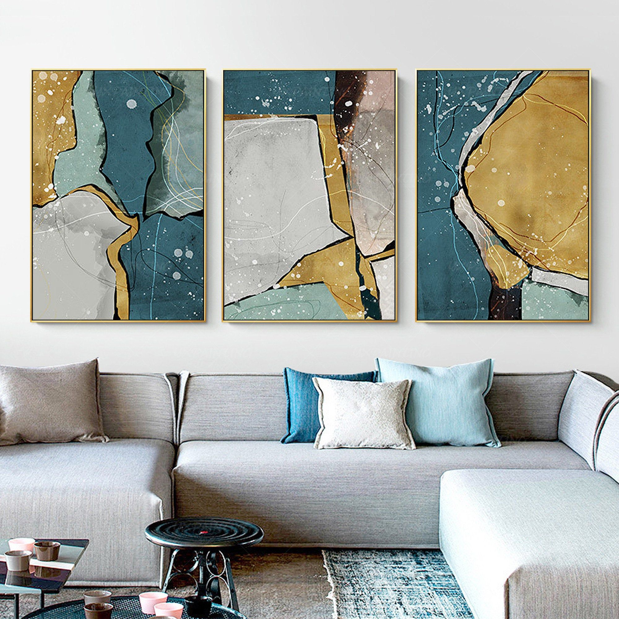 Framed Wall Art Set Of 3 Wall Art Abstract Print Art Blue Etsy In 2020 Framed Wall Art Sets Frames On Wall Framed Wall Art