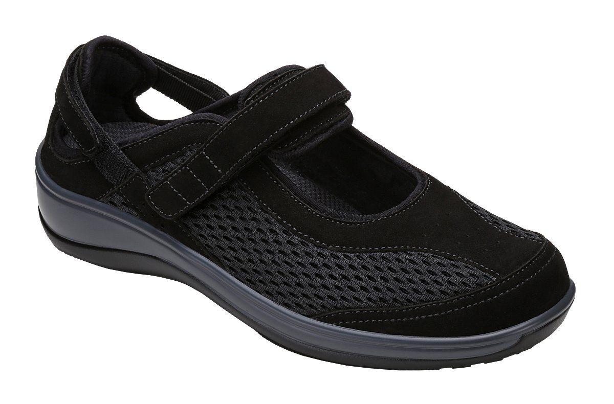 Orthofeet Reef Womens Comfort Orthotic Orthopedic Diabetic Mary Jane Shoes  Black Fabric and Leather 5.5 XXW 3419dbdc1c06