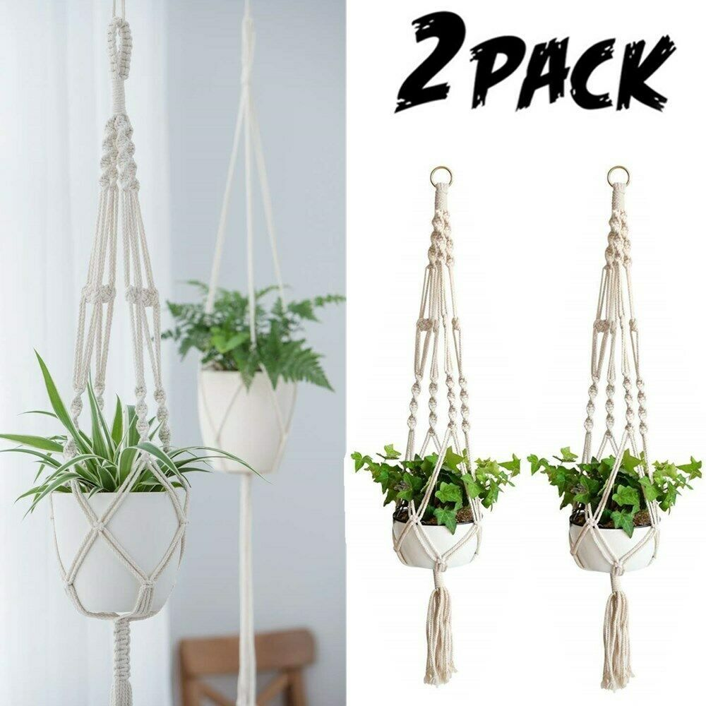 Us 2 Pack Plant Hanger Flower Pot Plant Holder Large 4 Legs Macrame Jute 41 Inch Plant Holder Ideas Of Plan Plant Holders Hanging Plant Holder Plant Hanger