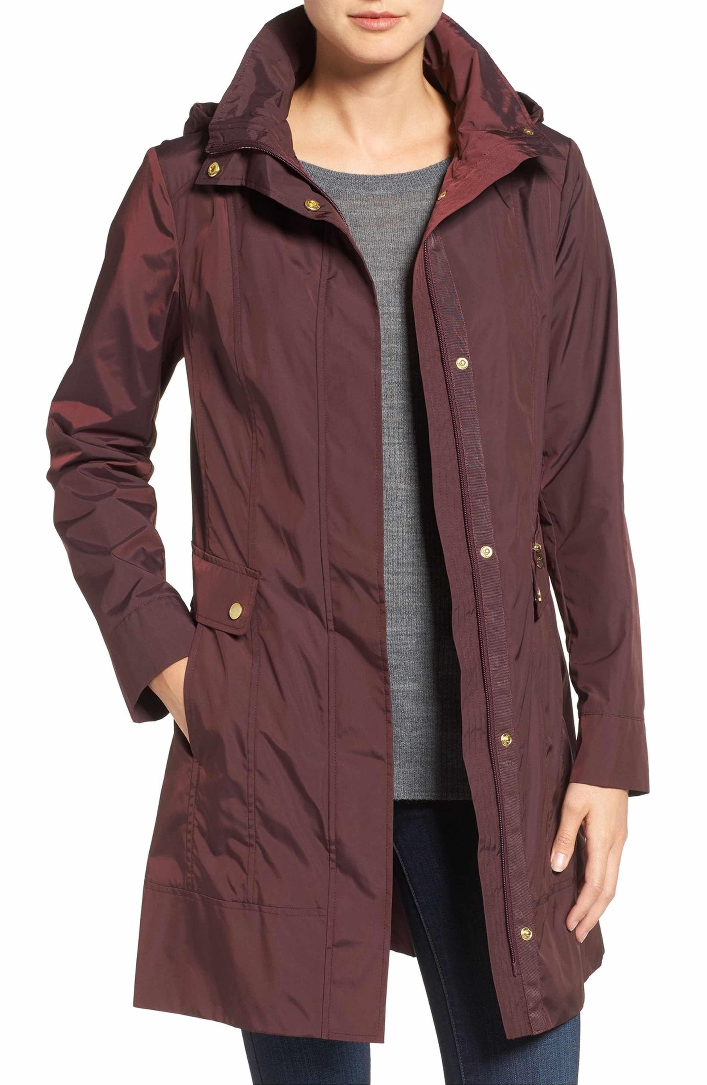 Back Bow Packable Hooded Raincoat. Main Image - Cole Haan Signature Back  Bow Packable Hooded Raincoat (Regular   Petite) d1f534295