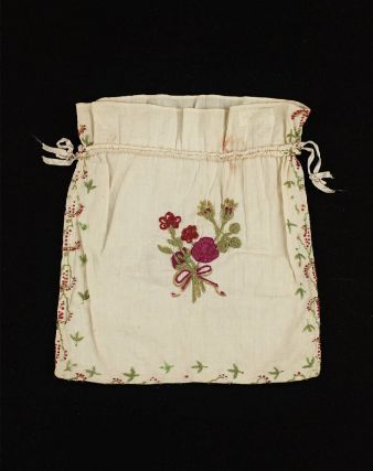 White cotton drawstring bag American, first half of 19th century ...