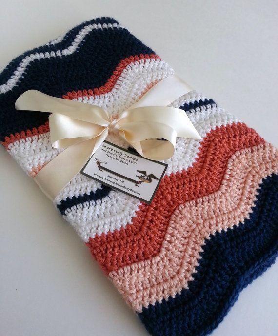 Crochet Baby Blanket Baby Girl Blanket Baby Boy Blanket Chevron ...