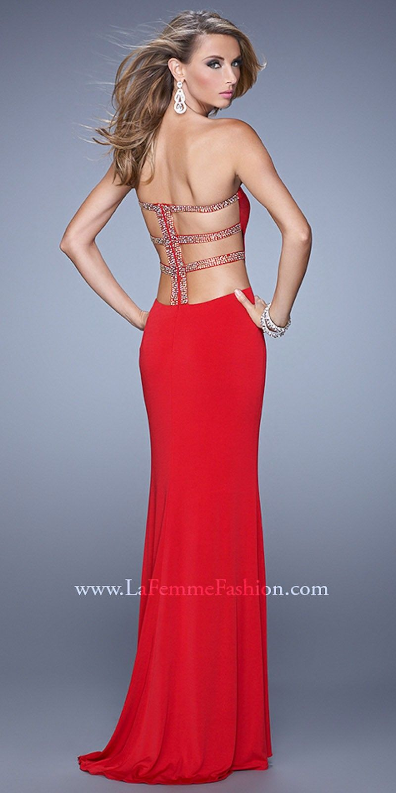 Jeweled back cutout prom dresses by la femme jamaries prom