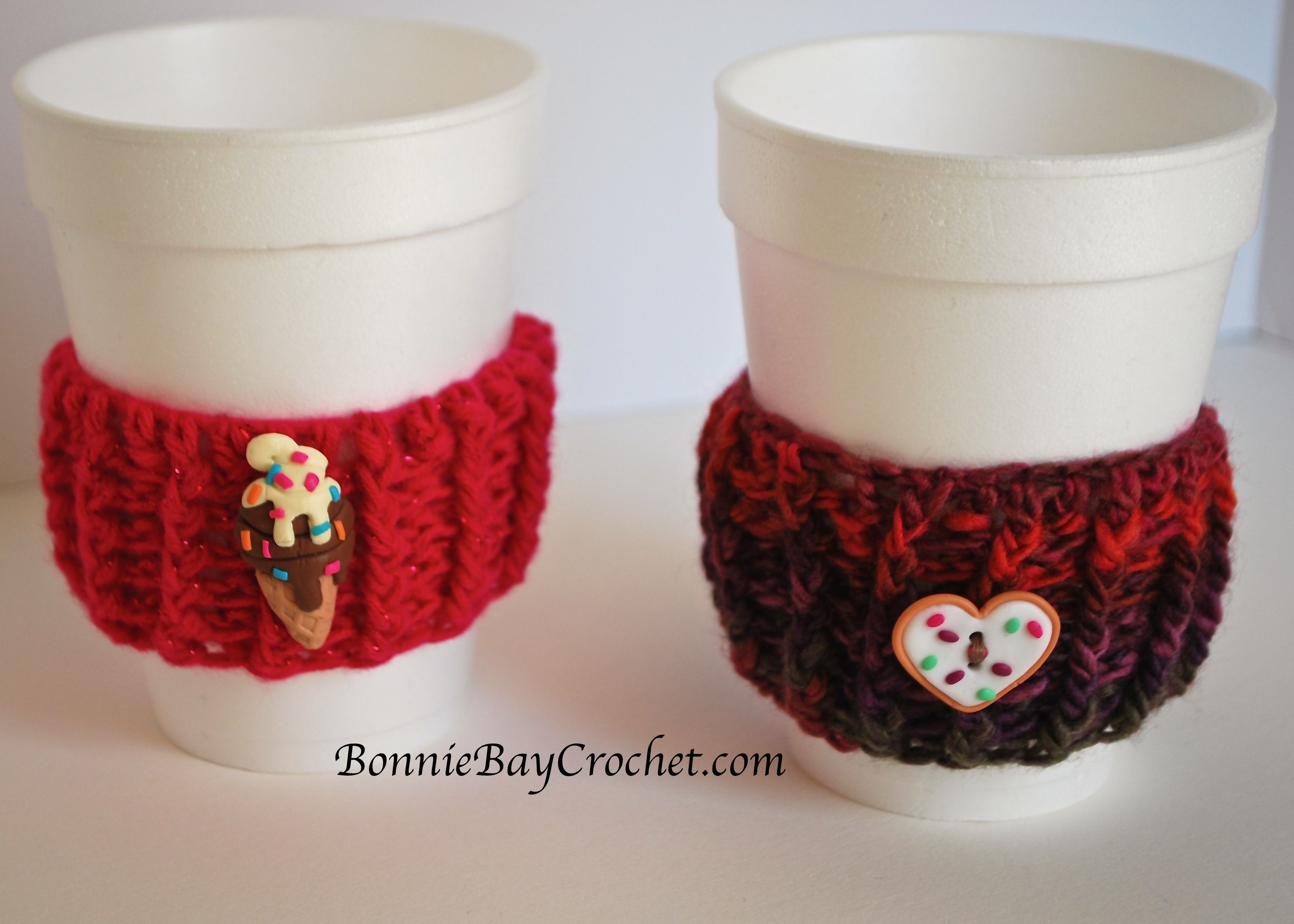 Coffee Cup Cozies by Bonnie Barker FREE crochet pattern: http://www ...