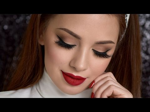 Neutral Smokey Eye Amp Red Lips Makeup Tutorial Youtube