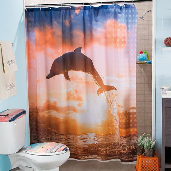 Cortina de Baño Delfines #Baño #JuegodeBaño #Hogar #IntmaHogar - Cortinas Decoracion