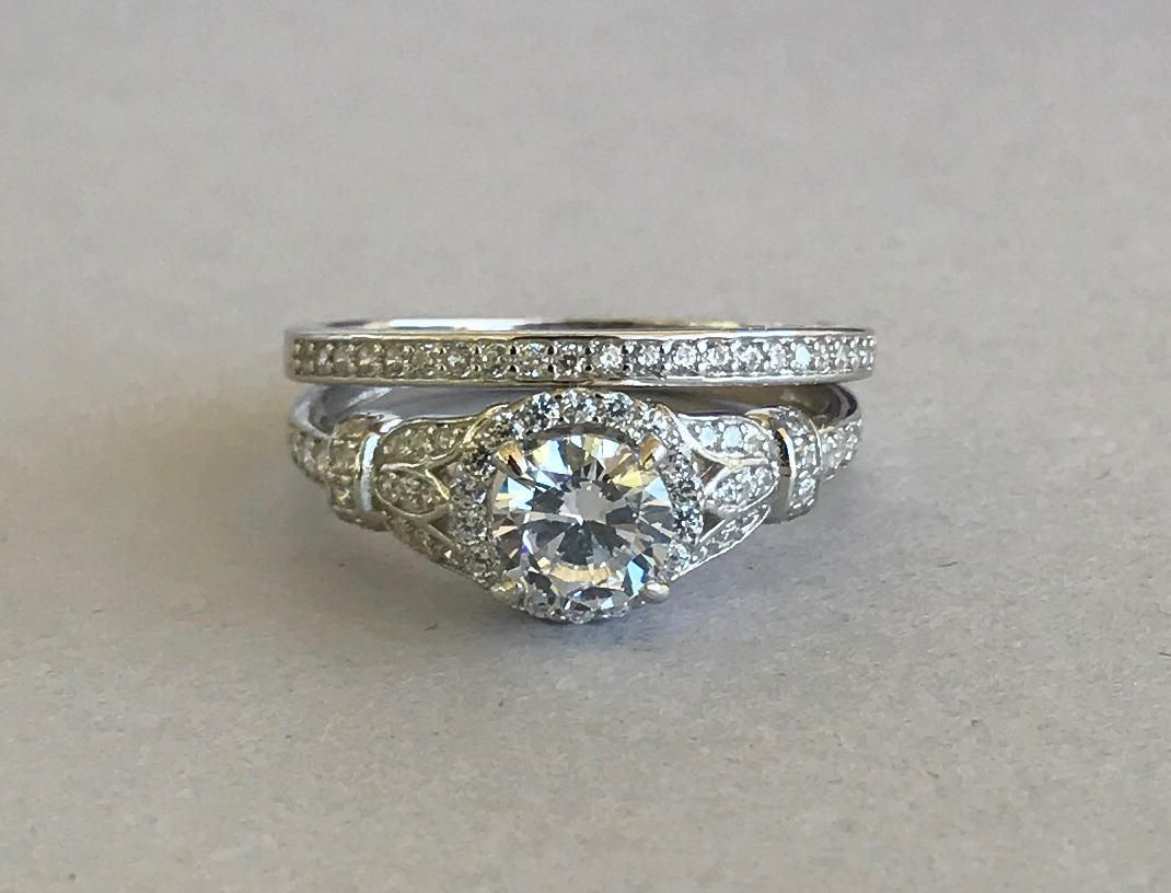 Ring · Art Deco Round Cut Simulated Diamond Engagement