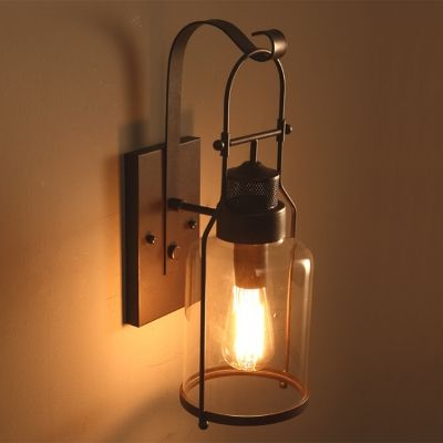 Rustic Country Style Jar Wall Light In Clear Glass Shade For Outdoor Warehouse Barn Industrial Wall Sconce Indoor Wall Lights Industrial Wall Lights