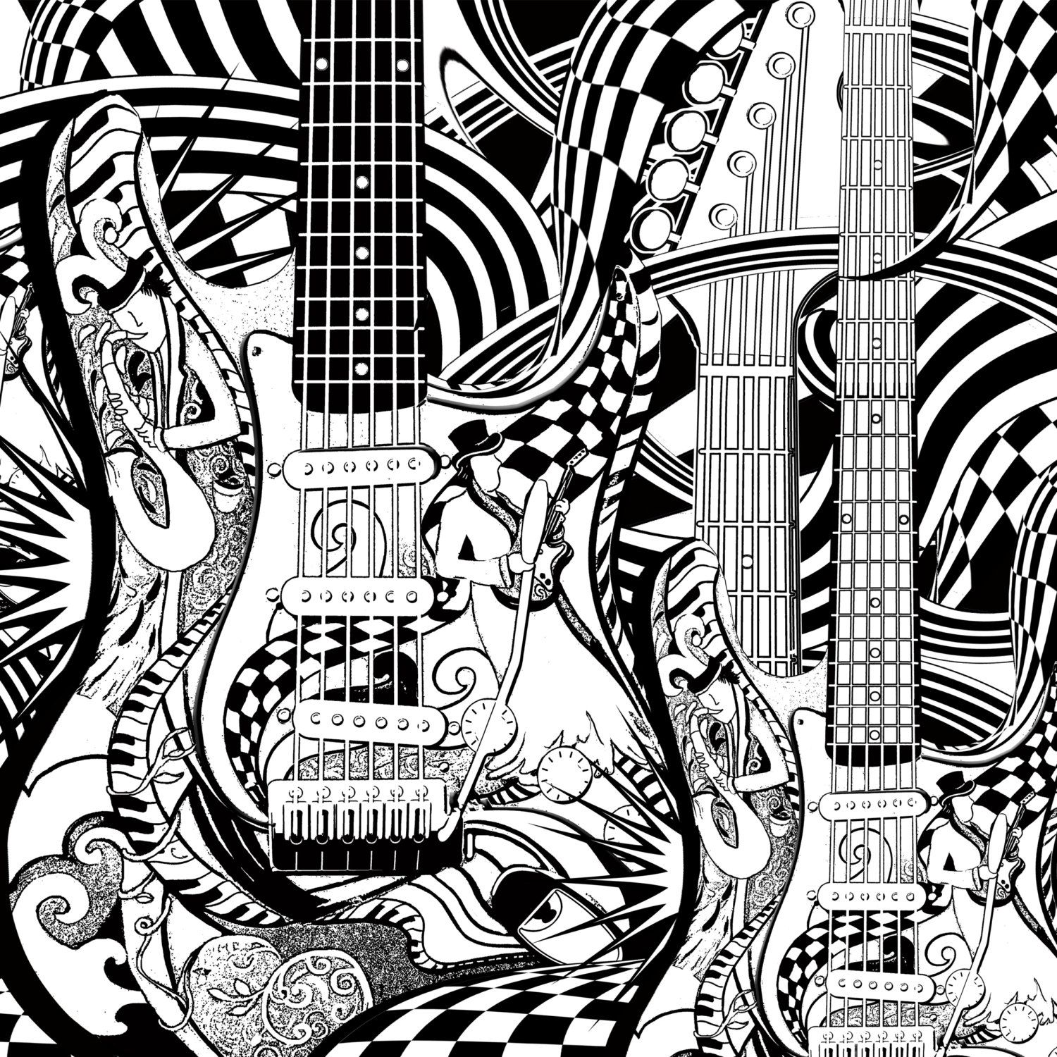 Guitars adult coloring page by JuleezGallery Zentangles