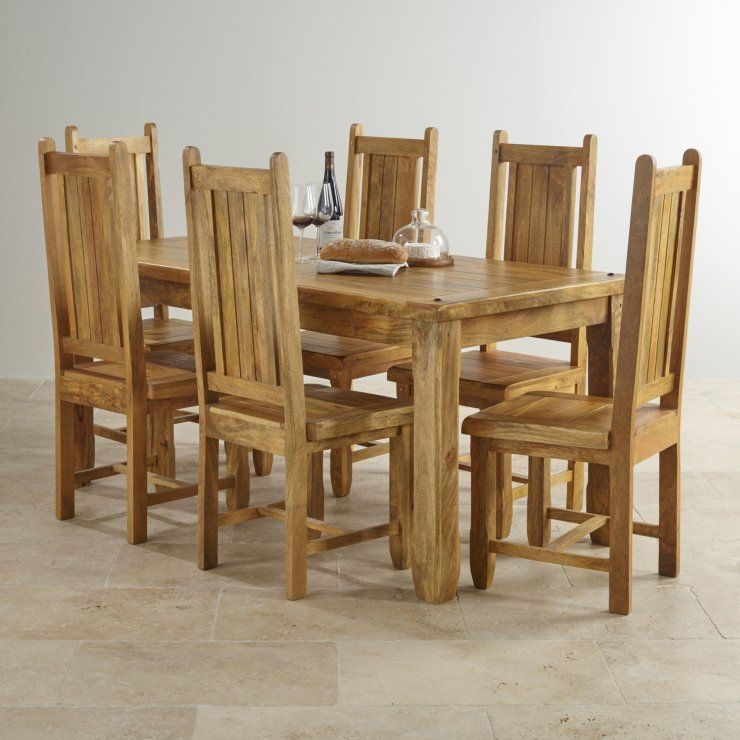 Baku Light Mango Indian Dining Set With 6 Chairs From The