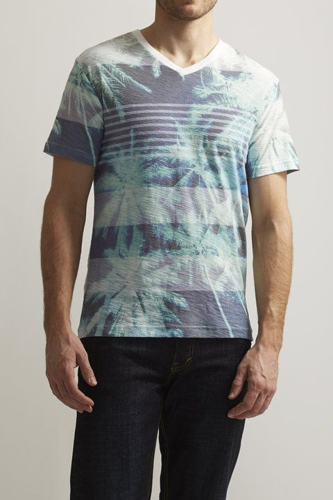 Koda Sublimated V-Neck Tee - Ocean Current - Tees : JackThreads