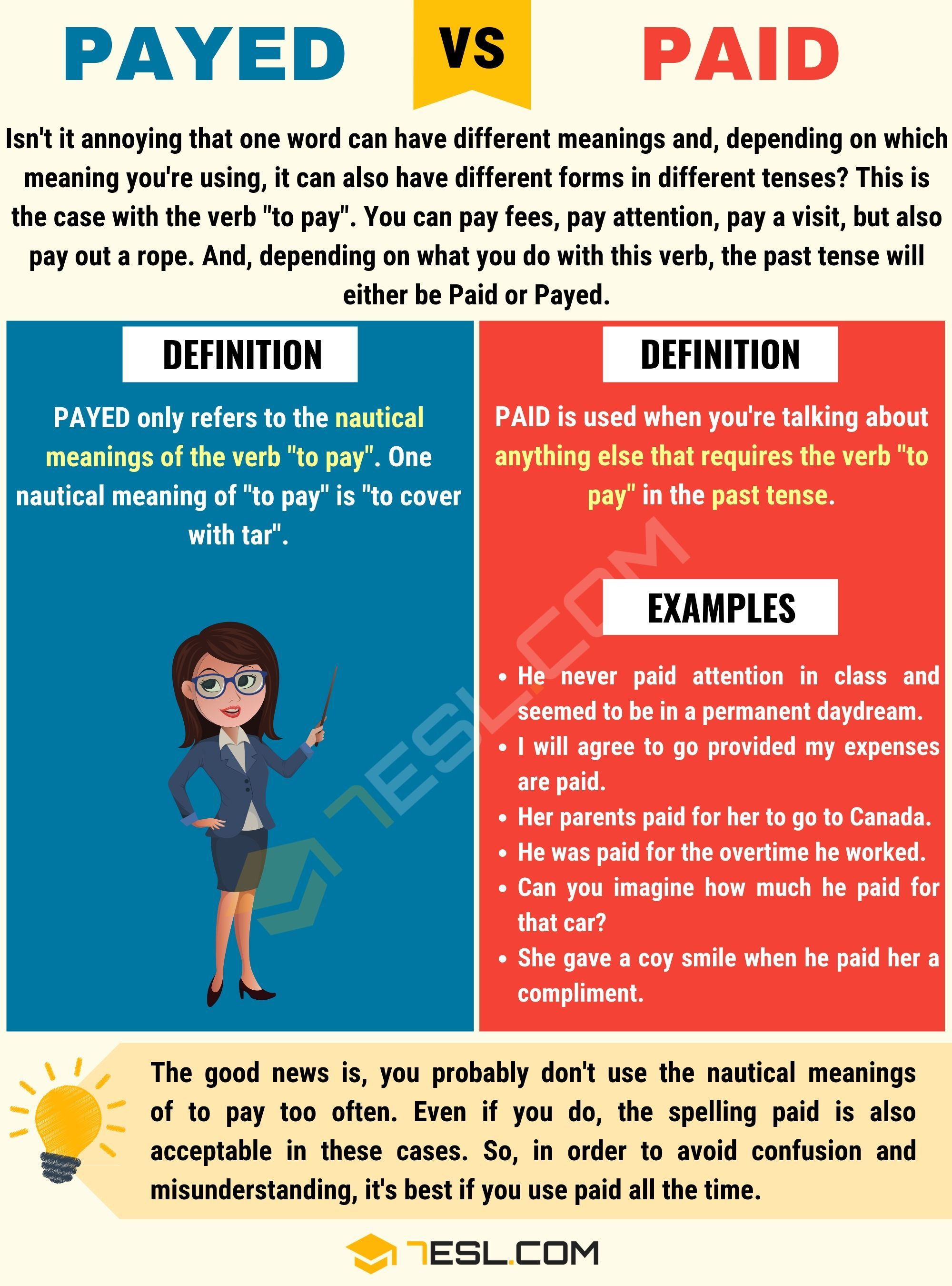 Payed Vs Paid When To Use Paid Vs Payed With Useful Examples Learn English English Vocabulary English Grammar