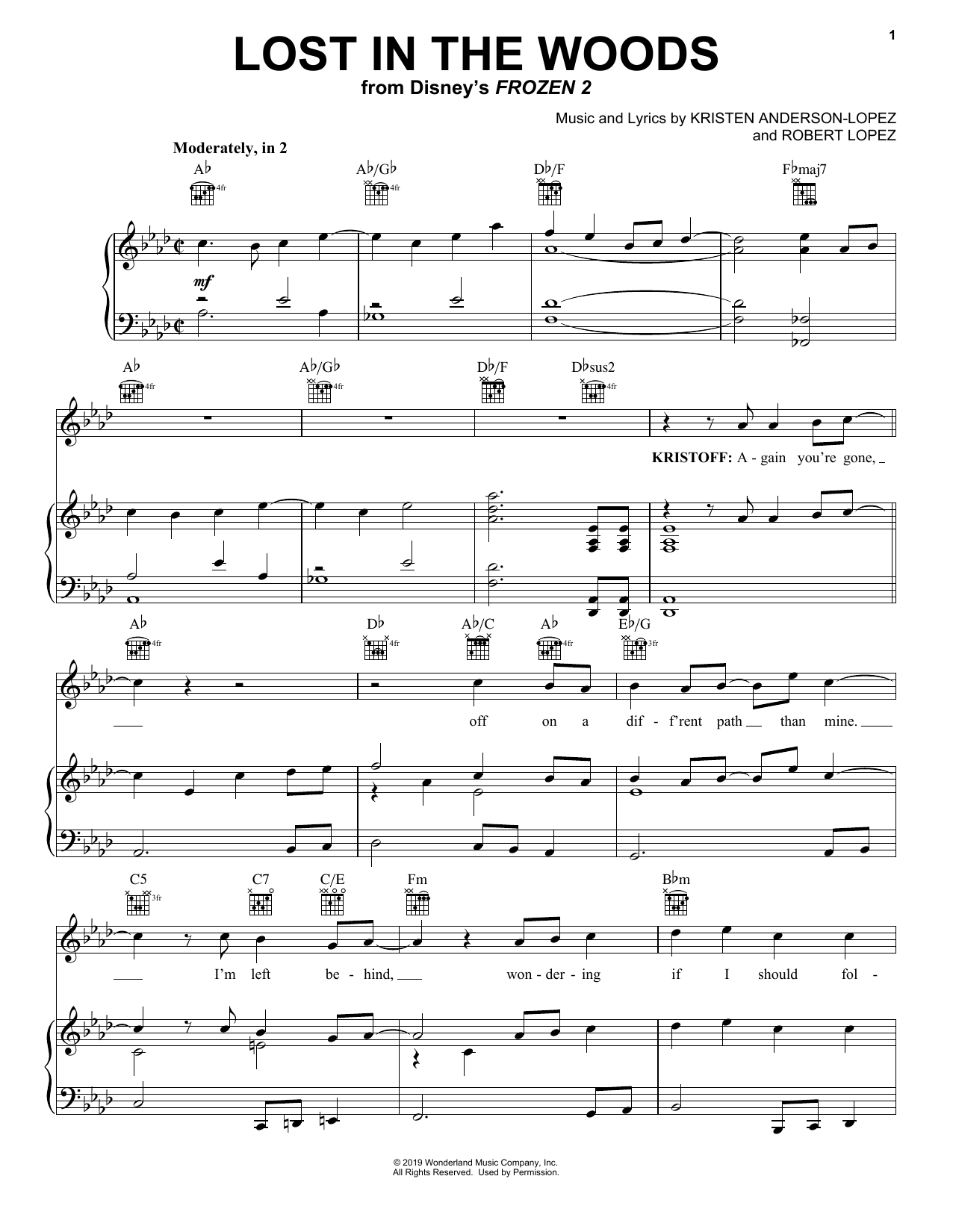 Jonathan Groff Lost In The Woods From Disney S Frozen 2 Sheet Music Notes Chords Sheet Music Notes Sheet Music Music Notes