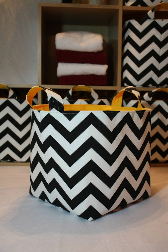 Fabric Bin Storage Basket 10 X 10 X 10 Zigzag Choose Your Color Combinations 40 00 Fabric Bins Storage Baskets Storage Bins