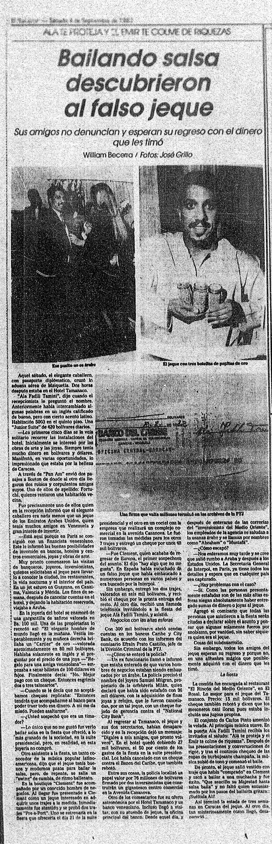 """Descubierto falso jeque bailando salsa, luego de estafar a varios de sus """"amigos"""". Publicado el 4 de agosto de 1982."""