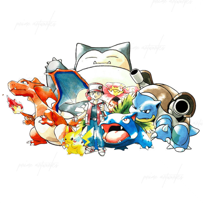 Pokemon Trainer Red Canvas Print Mounted Or Framed Pokemon Trainer Red Pokemon Pokemon Manga
