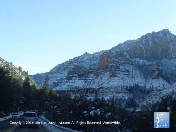 A snowy winter drive down Oak Creek Canyon - quite an unusual sight to see a White Christmas in Sedona!