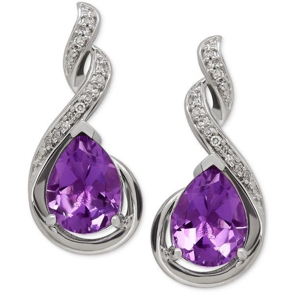 Amethyst (1-9/10 ct. t.w.) and Diamond Accent Infinity Earrings in... (1.005 RON) ❤ liked on Polyvore featuring jewelry, earrings, no color, diamond accent earrings, sterling silver jewelry, amethyst earrings, amethyst jewellery and infinity jewelry