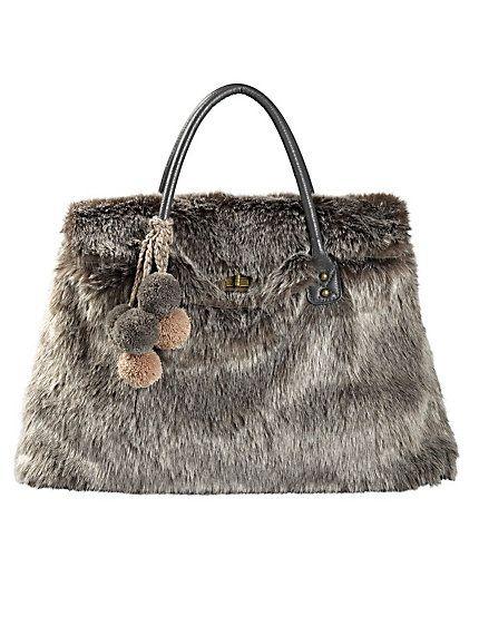 f4ea9b5621c0 Heine shop fake fur handbag brown large nep bont handtas bruin groot