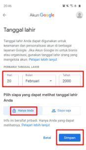 cara mengubah tanggal lahir di akun google