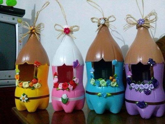 Casitas para p jaros con botellas de pl stico recicladas - Casita para pajaros ...