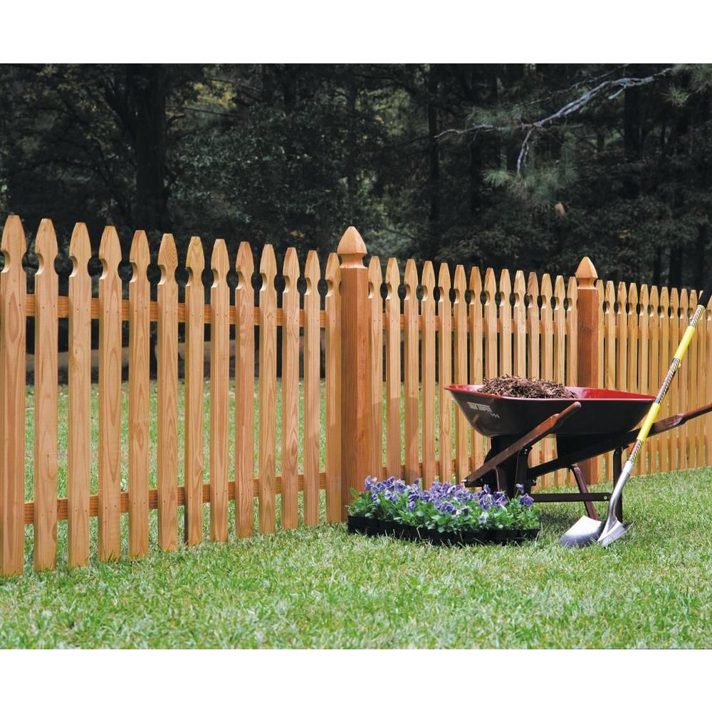 Outdoor Essentials 4 In X 4 In X 5 Ft Western Red Cedar French Gothic Fence Post 2 Pack 237828 Picket Fence Panels Wood Picket Fence Fence Panels