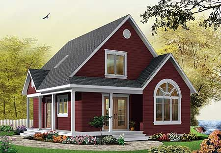 Plan 21492dr Country Cottage With Wrap Around Porch Casas Vermelhas Casas Charmosas Jardins De Casas